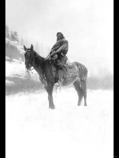 Photo: Native American in Snow Poster : 24x18in