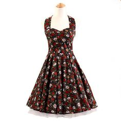 J.L.I floral Halter 50s dress retro plus size women dresses Audrey Hepburn Print dress Vintage 50s Rockabilly Dress Alternative Measures