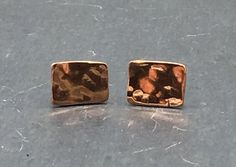 Hammered Copper Minimal Rectangle Stud Earrings by NurturedWorks