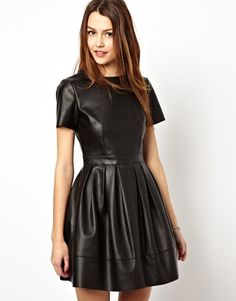Image 1 of ASOS Skater Dress In Leather Look