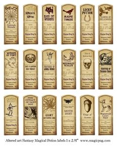 Deze aanbieding is voor een digitale collage blad 8,5 x 11 met 18 veranderd kunst antiek labels. Elk etiket is ongeveer 1 x 3, 27.18mm x 73.5 mm en/of 1,07 x 2.89 in om precies te zijn.  Dit vel met etiketten is gemaakt door mij, met behulp van een antiek vanille Extract label, alleen ik heb veranderd van de ingrediënten en maakte hen voor drankjes: tinctuur Unicorn Horn, Goblin Water, reuze inktvis inkt, enz. De etiketten zijn verdrietig om te kijken antieke en hebben een grafische…
