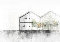KURIAKOSE ARCHITECTURE: The section is still very conceptual but I guess it's quite more interesting than the plans and this shows how the houses relate with the rest of the greenhouse. The form derived from the continuation of an existing tram depot