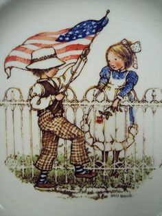 1976 Holly Hobbie Patriotic 10 Plate by SnapshotsThroughTime,  Etsy