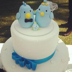 Bolo de casamento com tema Twitter. Foto: Tudo Vira Foto.