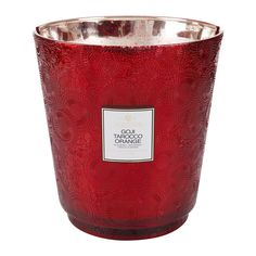 Voluspa - Japonica Hearth Candle - 3.5kg - Goji & Tarocco Orange - LARGE CANDLE  #candles #decorideas Large Candles, Glass Holders, Red Glass, Scented Candles, Hearth, Fireplaces, Berry, Larger, Mango
