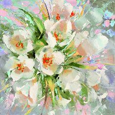 Witte tulpen 2 Paletmes olieverfschilderij op doek door spirosart
