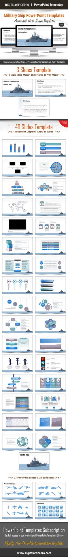 Impress and Engage your audience with Military Ship PowerPoint Template and Military Ship PowerPoint Backgrounds from DigitalOfficePro. Each template comes with a set of PowerPoint Diagrams, Charts & Shapes and are available for instant download.