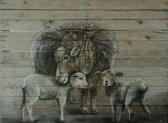 Sonja Roosenhart Oil painting on reclaimed wood  https://www.facebook.com/RoosArtPainting #palletart #wood #art #oilpainting #sheep #lamb