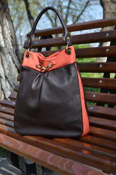 Brown-Orange  BUCKET Leather Bag, TOTE Leather Bag, Leather Purse, Leather Shoulder Bag, Soft Pebbled Leather Bag, Leather Bucket  Purse by CORYSBAGS on Etsy