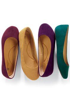 Suede-like Ballerina Flats | Chadwicks of Boston..  Loving every color!
