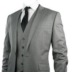 Mens Slim Fit Suit Light Grey Stitch Trim 3 Piece Work Office or Wedding Party