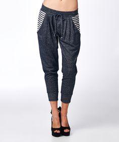 Love this tresics Navy & White Stripe Sweatpants - Women by tresics on #zulily! #zulilyfinds