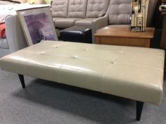 Genuine Leather Bench - Tufted leather bench in a neutral colour.  64 inches long by 32 inches wide.  Perfect condition!   Item. 381-6.  Price $255.00   - http://takeitorleaveit.co/2014/03/28/genuine-leather-bench/
