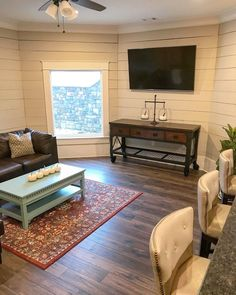 Shiplap source on Home Bunch Shiplap dimension Shiplap wood type Shiplap Shiplap… - Roundtables. Family Room Design, Home, Basement Furniture, Family Room, Flex Room, Shiplap Wood, House Interior, Basement Flooring Options, Room Design
