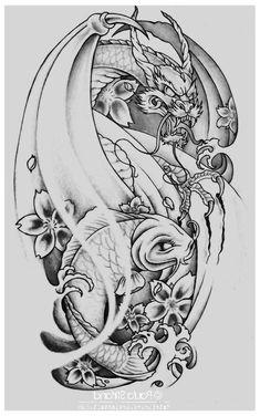 most beautiful koi fish tattoo designs of raum time - # designs Pisces Tattoo Designs, Angel Tattoo Designs, Tattoo Sleeve Designs, Tattoo Designs Men, Badass Tattoos, Leg Tattoos, Body Art Tattoos, Cool Tattoos, Dragon Koi Tattoo Design