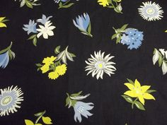 1940s Cotton Reverse Silhouette Black Background Floral Botanical Print 4.5 Yds