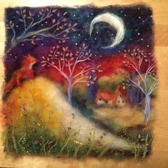 Картины из шерсти. Валяние. Рукоделие. МК. Night landscape with fox.