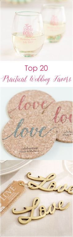 Find the best pracical favors for your wedding! From personalized wine glasses to bottle openers, we've got you covered. Find just the right favor at www.pinterest.com/laurenweds/wedding-favors?utm_content=buffer3df27&utm_medium=social&utm_source=pinterest.com&utm_campaign=buffer