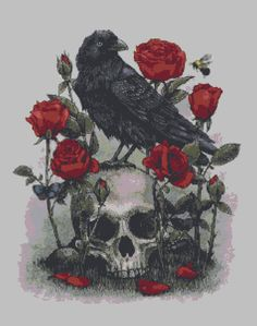 Black Raven & Roses Skull Cross Stitch PDF - Needlework Pattern, DIY Crossstitch Chart, Relaxing Hobby, Instant Downloa