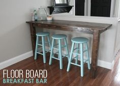 How build a wooden bar, old floor boards were #upcycled to make this rustic breakfast bar: