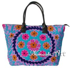 Indian Cotton Tote Shoulder Embroidery Suzani Handbag Woman Beach Boho Bag  jk30 #Namasteart #TotesShoppers