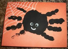 Hand Print Spider Halloween Card |  Goes great with the footprint ghost, every year add a new one and then you will have a growing collection of cuteness.