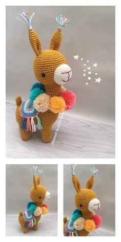 Crochet Diy, Crochet Amigurumi Free Patterns, Crochet Animal Patterns, Stuffed Animal Patterns, Crochet Dolls, Cute Llama, Amigurumi Doll, Crochet Projects, Crochet Free Patterns