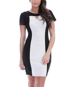 Love this White & Black Color Block Keyhole Bodycon Dress on #zulily! #zulilyfinds