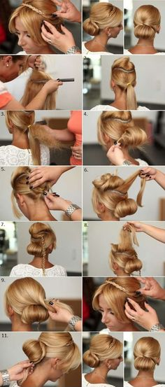 Will try to figure out a no-tease replacement for the bun part    elegant chignon with braided headband