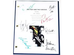 The Fast and the Furious Movie Script Autographed Signed Paul Walker, Vin Diesel, Jordana Brewster, Michelle Rodriguez, Chad Lindberg +more