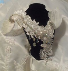 White Crystal Neck Piece, Angel Wing Necklace, Haute Couture Bridal Collar, OOAK Wedding Jewellery.