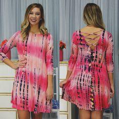 Tye Dye Criss Cross V-back 3/4 Sleeve Dress