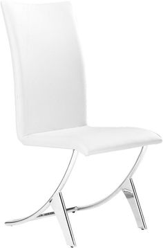Zuo Modern 102102 Delfin Dining Chair Color White Chromed Steel Finish - Set of 2