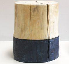 This indigo dipped tree stump table stool is our version of modern organic dark…