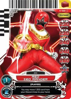 Red Zeo Power Rangers Trading Card