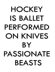 hockey is just a ballet performed on knives by bloodthirsty beasts , you know it's really safe. I could get stabbed but you know it's cool