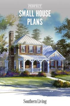 Maybe you're an empty nester, maybe you are downsizing, or maybe you just love to feel snug as a bug in your home. Whatever the case, we've got a bunch of small house plans that pack a lot of smartly-designed features, gorgeous and varied facades, and small cottage appeal. #southernlivinghouseplans #houseplans #houselayout #dreamhome #southernliving
