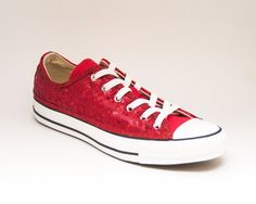 284420041a81 Custom Made Red Sequin Canvas Low Top Sneaker Tennis Shoes Wedding Converse