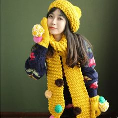 Colorful hairball knit hat scarf and gloves set for girls winter wear