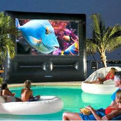 outdoor poolside home theater system.