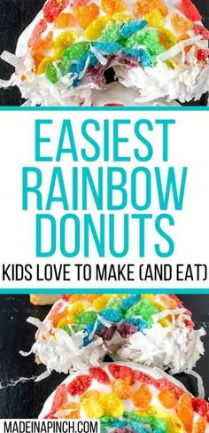 A deliciously fun and quick activity - and TREAT! These rainbow donuts are insanely quick to make, perfect for any day you want a little sunshine, spring, or St. Patrick's Day, and a GREAT way to let kids work on their color sorting skills! Make these rainbow donuts today - just click through to get the recipe 10-minute recipe. #stpatricksday #donuts #rainbowdonuts | Made in A Pinch @madeinapinch Easy Dinner Recipes, Delicious Recipes, Easy Recipes, Easy Meals, Dessert Recipes, Healthy Recipes, Desserts, Rainbow Donut, Rainbow Treats