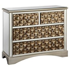 4-drawer wood chest with raised geometric facings and mirrored panels.   Product: ChestConstruction Material: W...