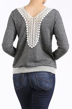 Crochet Lace Back Sweatshirt. Sizes Small, Medium and Large.