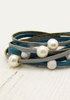 Bright Blue & Silver Pearl Leather Wrap Bracelet Eco