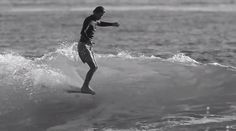 Longboard Surfing Black And White Of small wave surfing