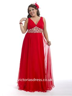 A-line V-neck Sleeveless Chiffon Plus Size Prom Dress