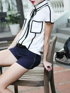White Short Sleeve Contrast Trims Chiffon Blouse 9.99