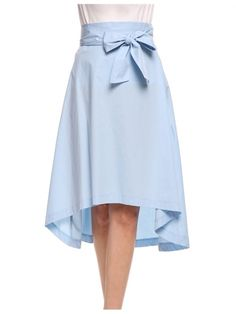 New Women Casual Solid Bow Bandage A-Line Pleated Asymmetrical Hem Skirts