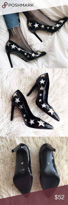 Stargirl Heels ⭐️ The perfect pointy heels with stars✨ These are the Bellucci Shoes by Ivyrevel. (www.ivyrevel.com) So in love with these but I ordered the wrong size💔 Size is Euro 38 and fit US size 8. Brand new with original packaging and box. Zara Shoes Heels