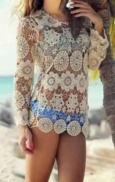 Gorgeous Lace! Bohemian Style Long Sleeve Hollow Out Lace Crochet Beach  Cover Up